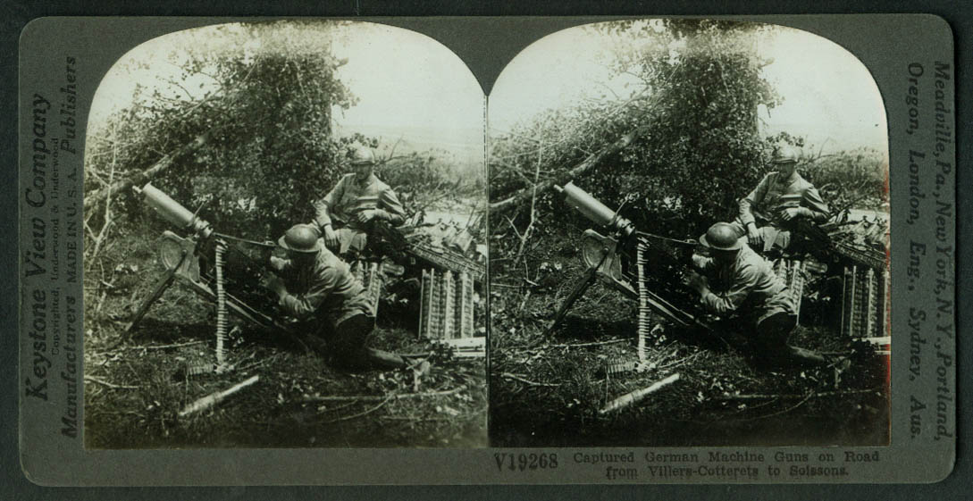 Captured German Machine Gun Villers-Cotterets-Soissons Rd stereoview World War I
