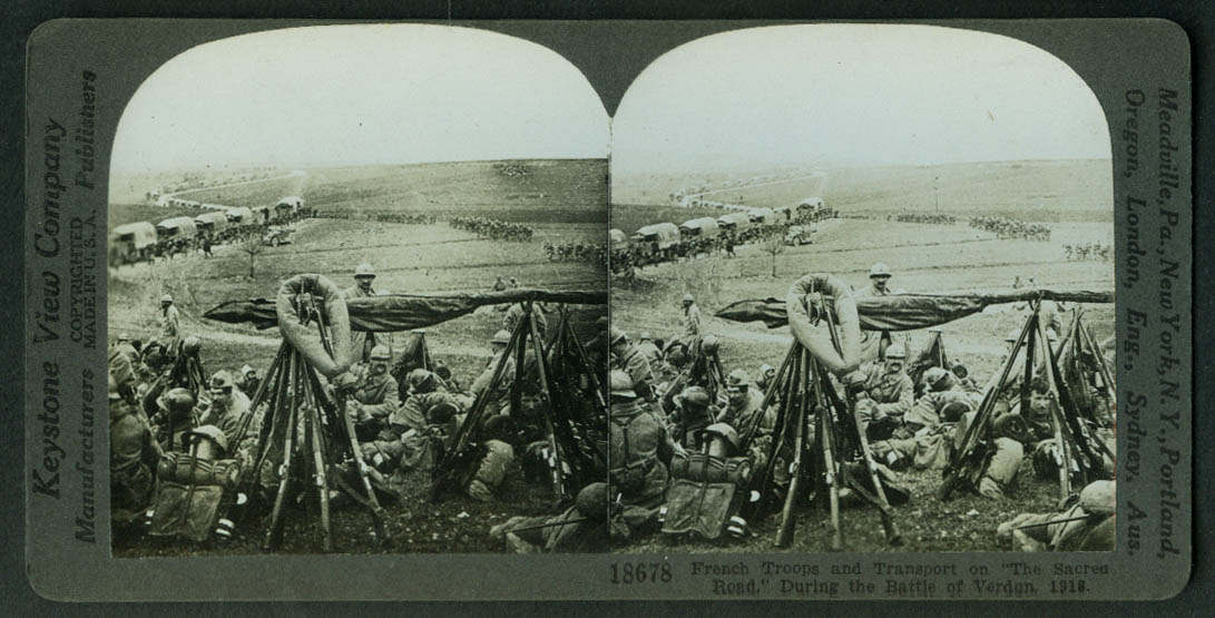 French Troops & Transport Convoy Sacred Road Verdun stereoview World War I