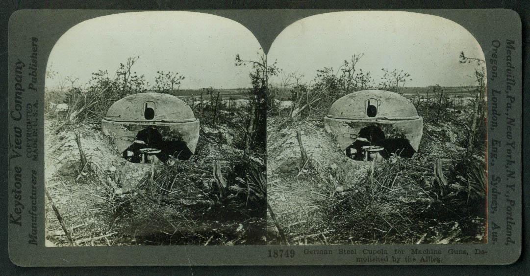 German Cupola Pillbox for Machine Guns demolished stereoview World War I