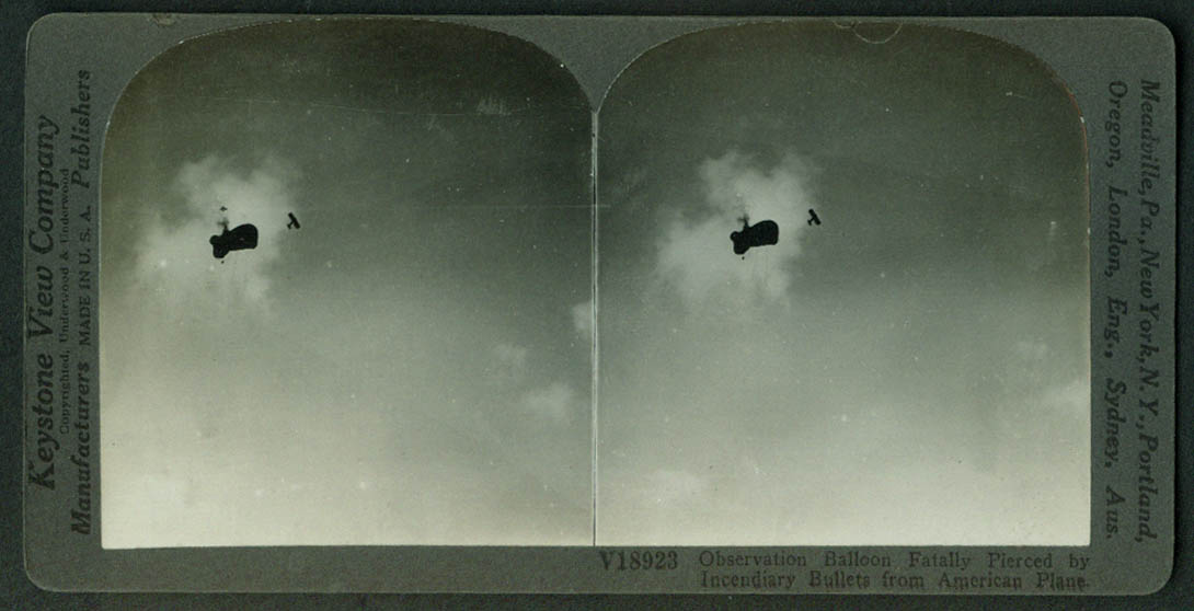 German Observation Balloon burst by US Army Airplane stereoview World War I