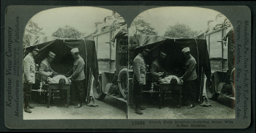 French 155mm Gun Trained on German Trenches stereoview World War I