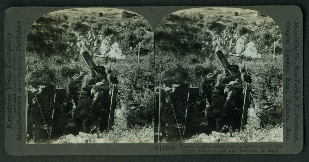British Auto-Mounted Anti-Aircraft Gun on Balkan Front stereoview World War I