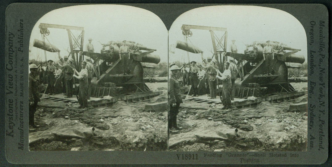 Feeding Grannie Shell Hoisted into Cannon stereoview World War I