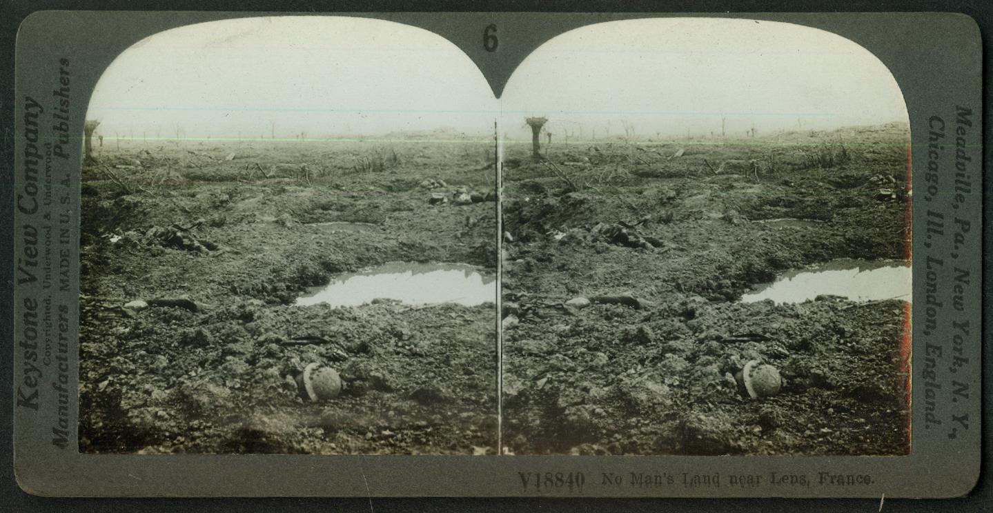 No Man's Land near Lens France World War I stereoview 1918