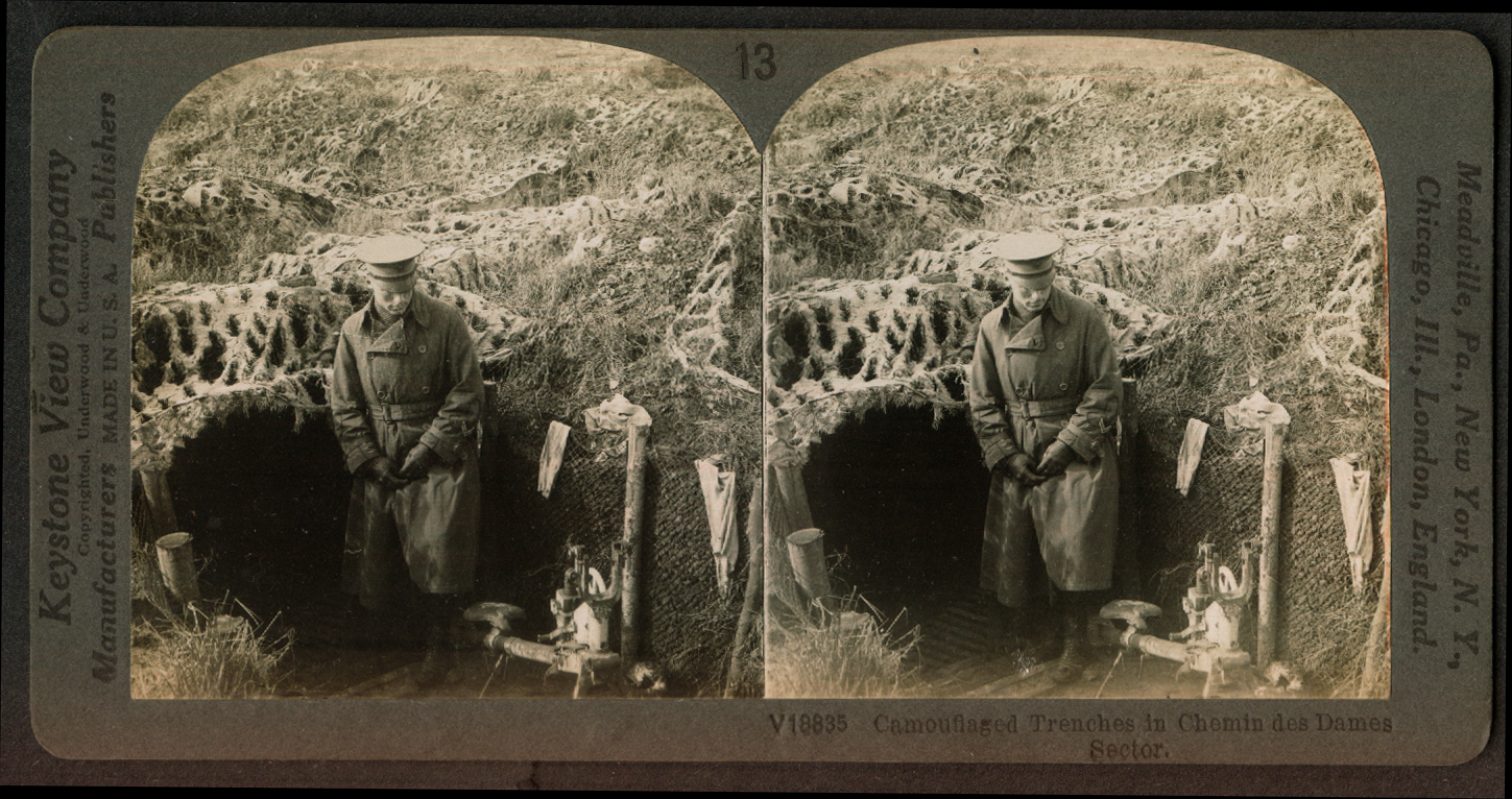 Camouflaged trenches Chemin des Dames Sector World War I stereoview 1918