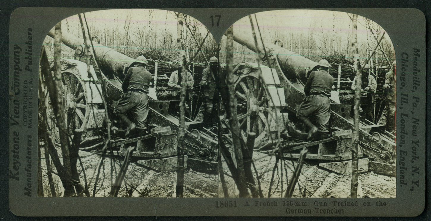 French 155mm Gun Trained on German Trenches World War I stereoview 1918