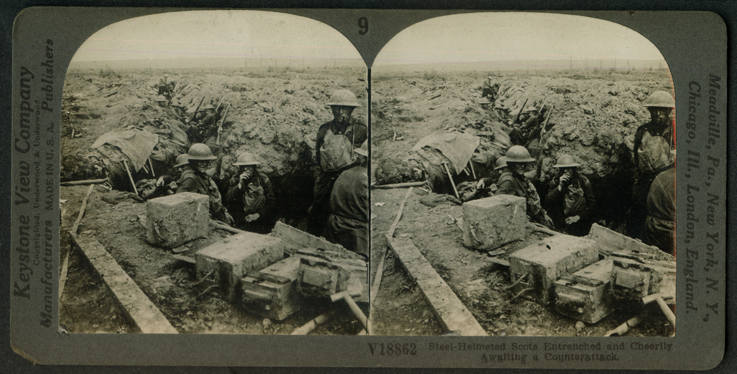 Steel-helmeted Scots entrenched await counterattack World War I stereoview 1918