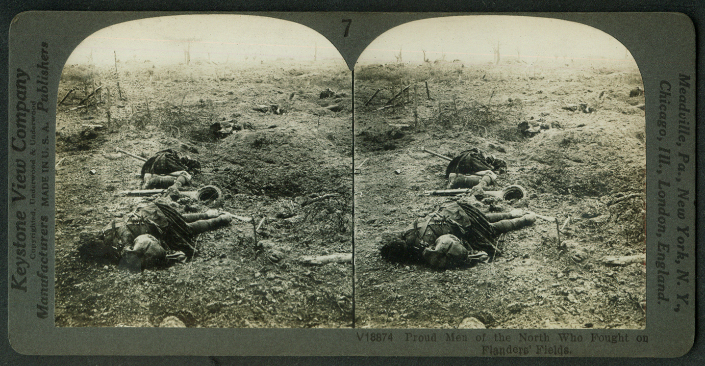 Flanders' Fields casualties World War I stereoview 1918
