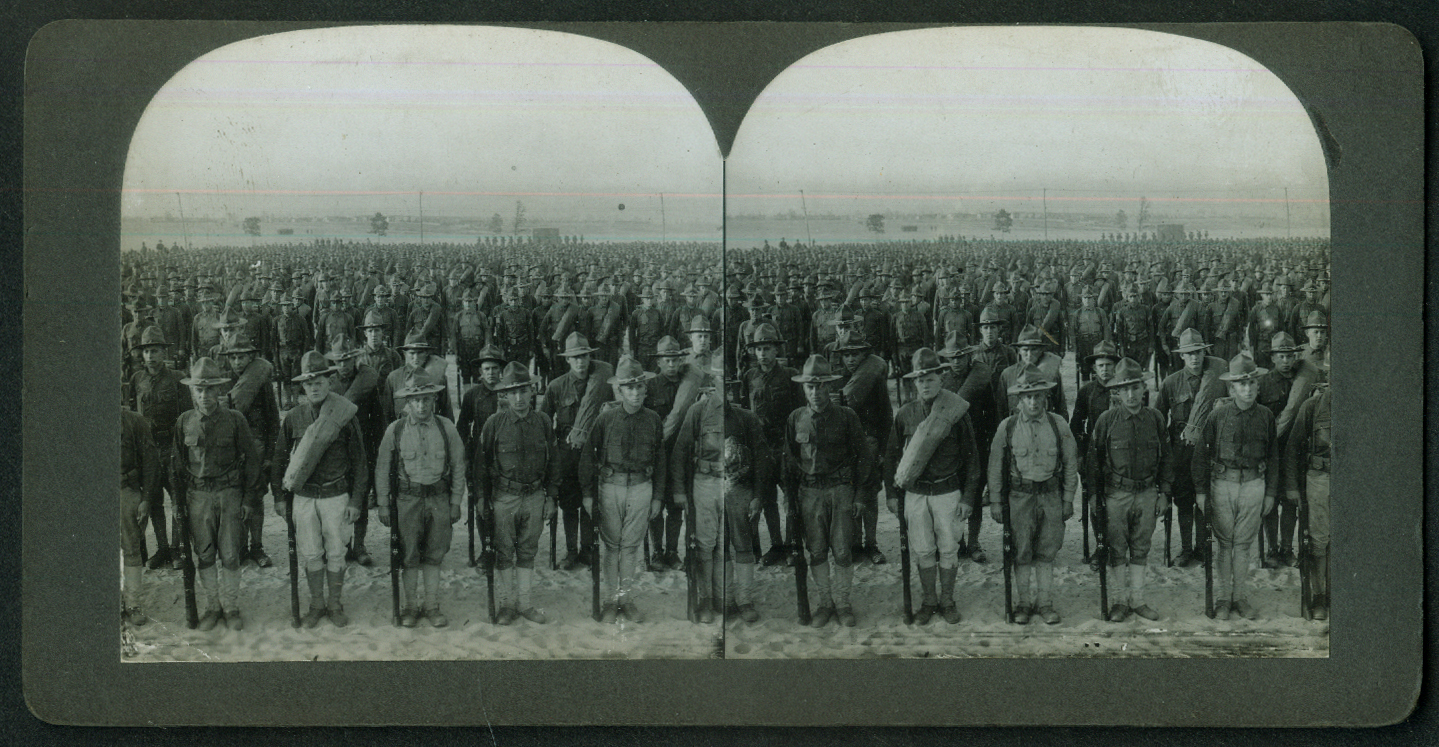 American doughboys ready to Answer the Kaiser World War I stereoview 1917