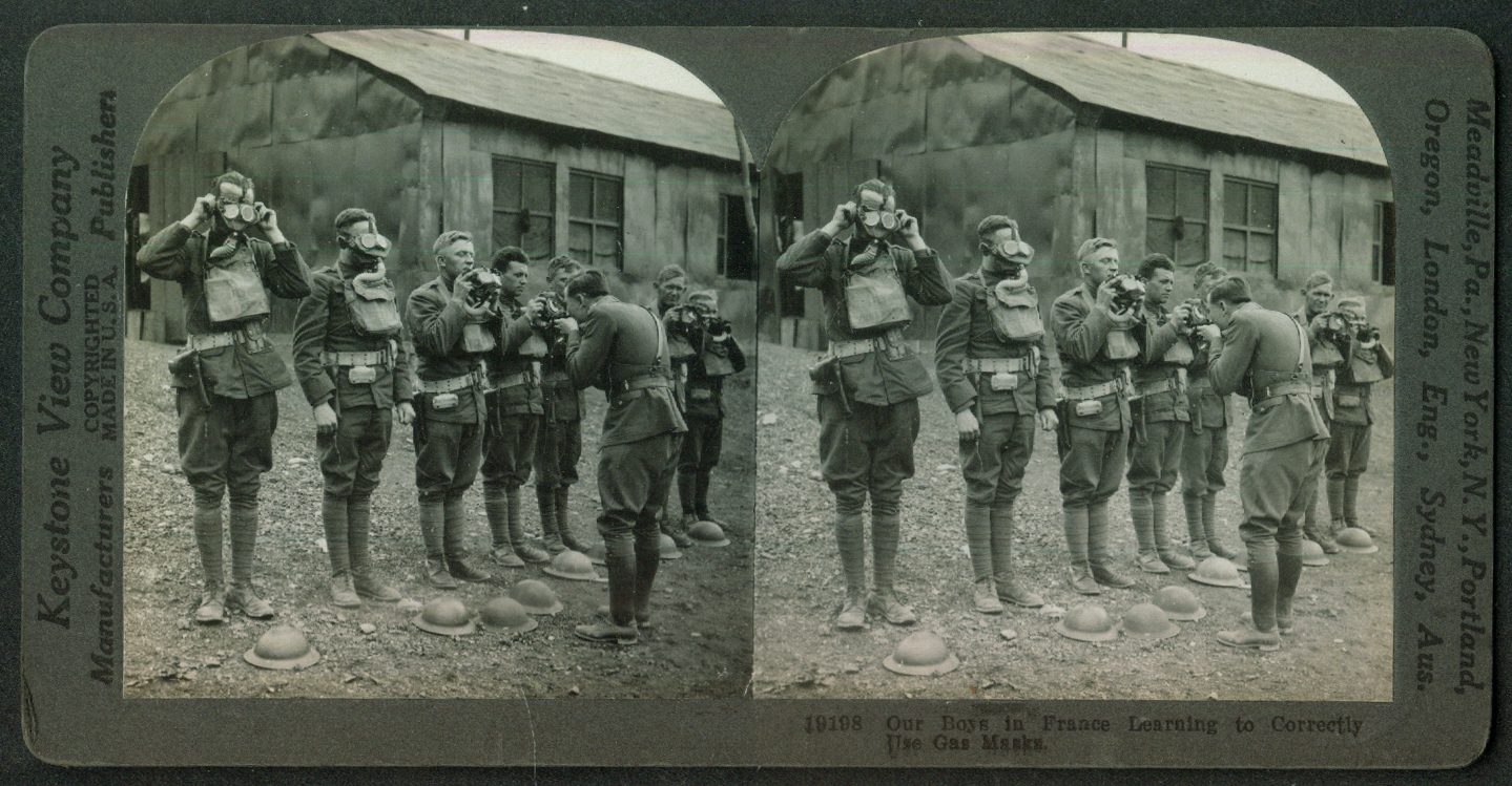 Doughboys learn correct Gas Mask Use France World War I stereoview 1918