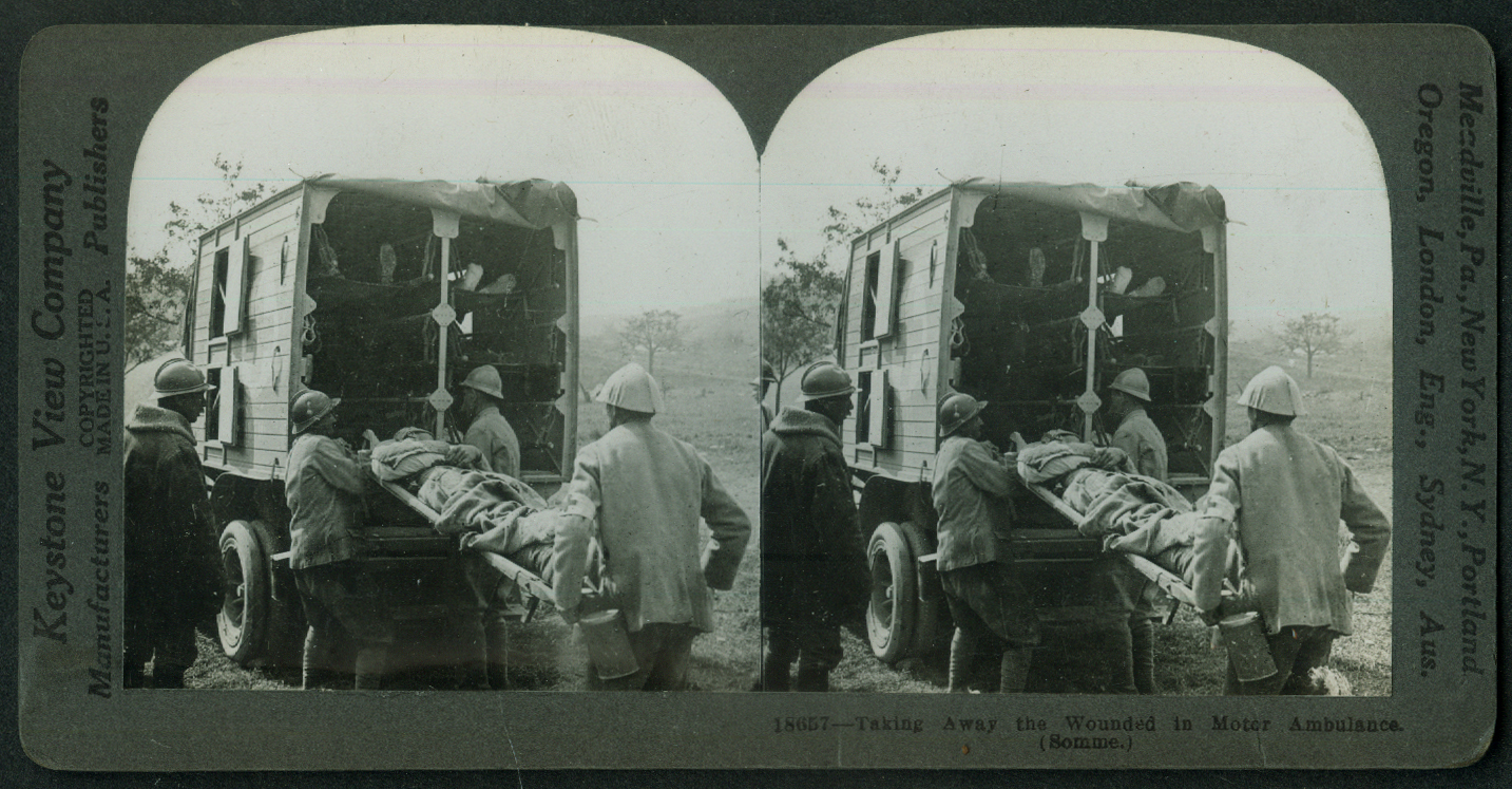 Allied Ambulance evacuates wounded Somme France World War I stereoview 1916