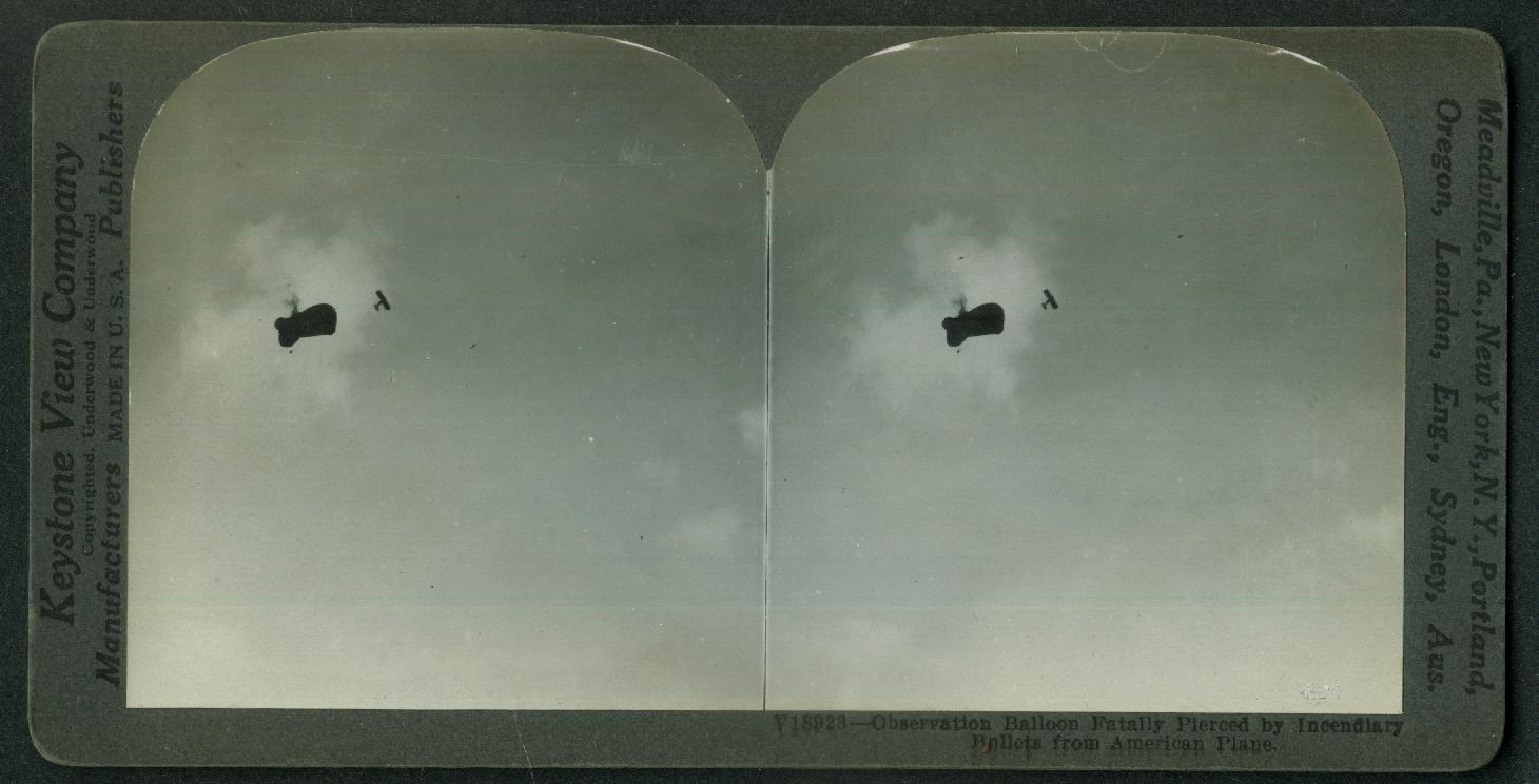 German Observation Balloon shot by American Plane World War I stereoview 1918