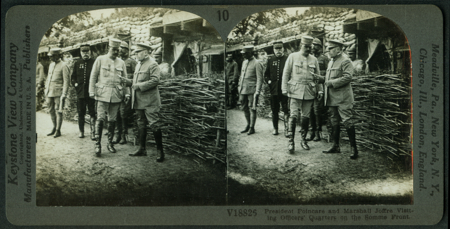 President Poincare & Marshall Joffre Somme Front World War I stereoview 1916