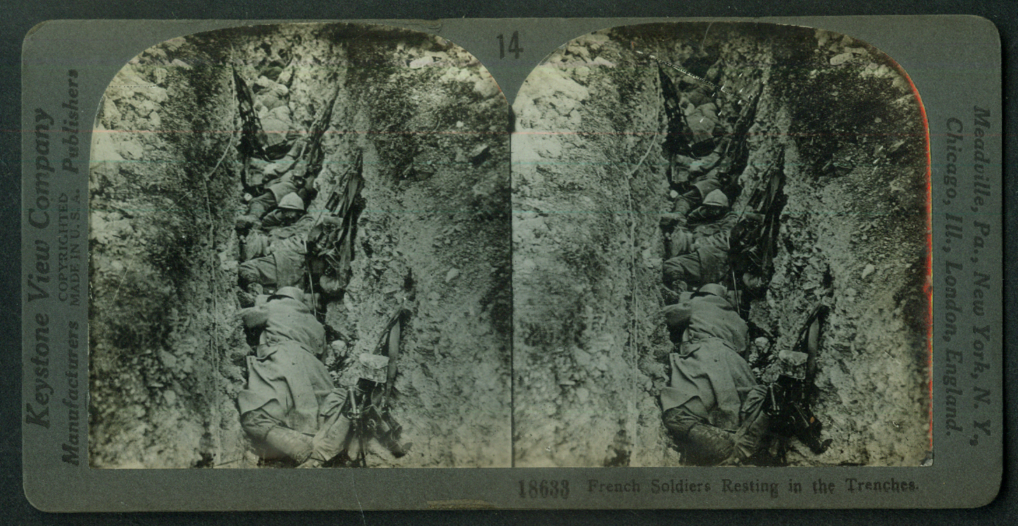 French soldiers resting in trenches World War I stereoview 1916