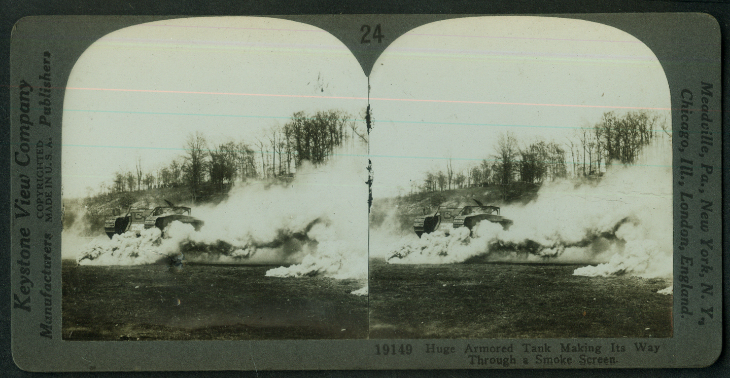 30-ton Brtish Tank in Smoke Screen World War I stereoview 1917