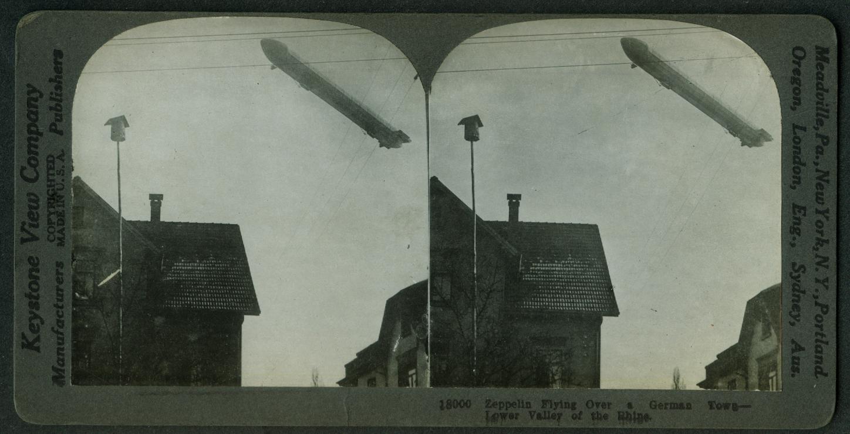 German Zeppelin over Lower Valley of Rhine stereoview 1915