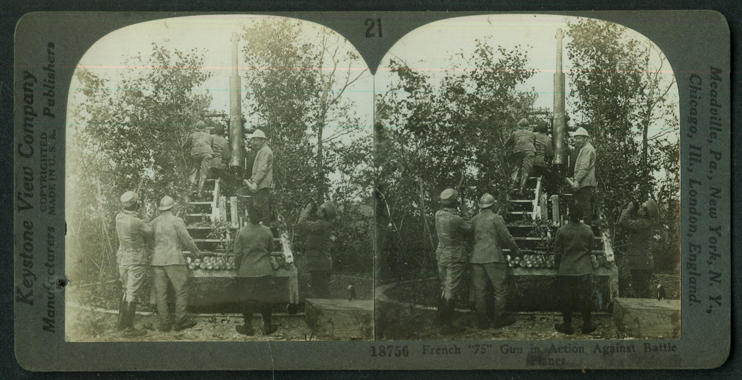 French 75mm Gun in antiaircraft use World War I stereoview 1916