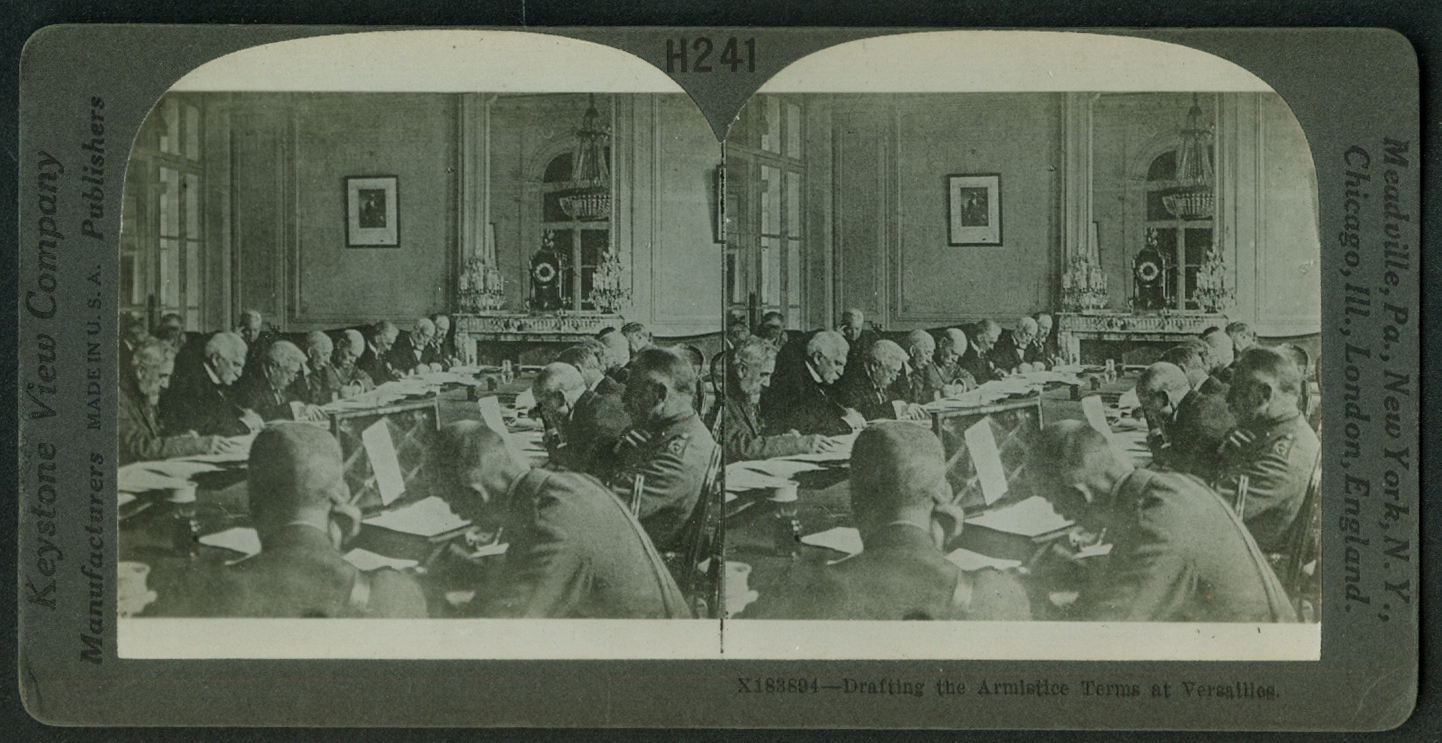 Drafting Armistice Terms at Versailles World War I stereoview 1918