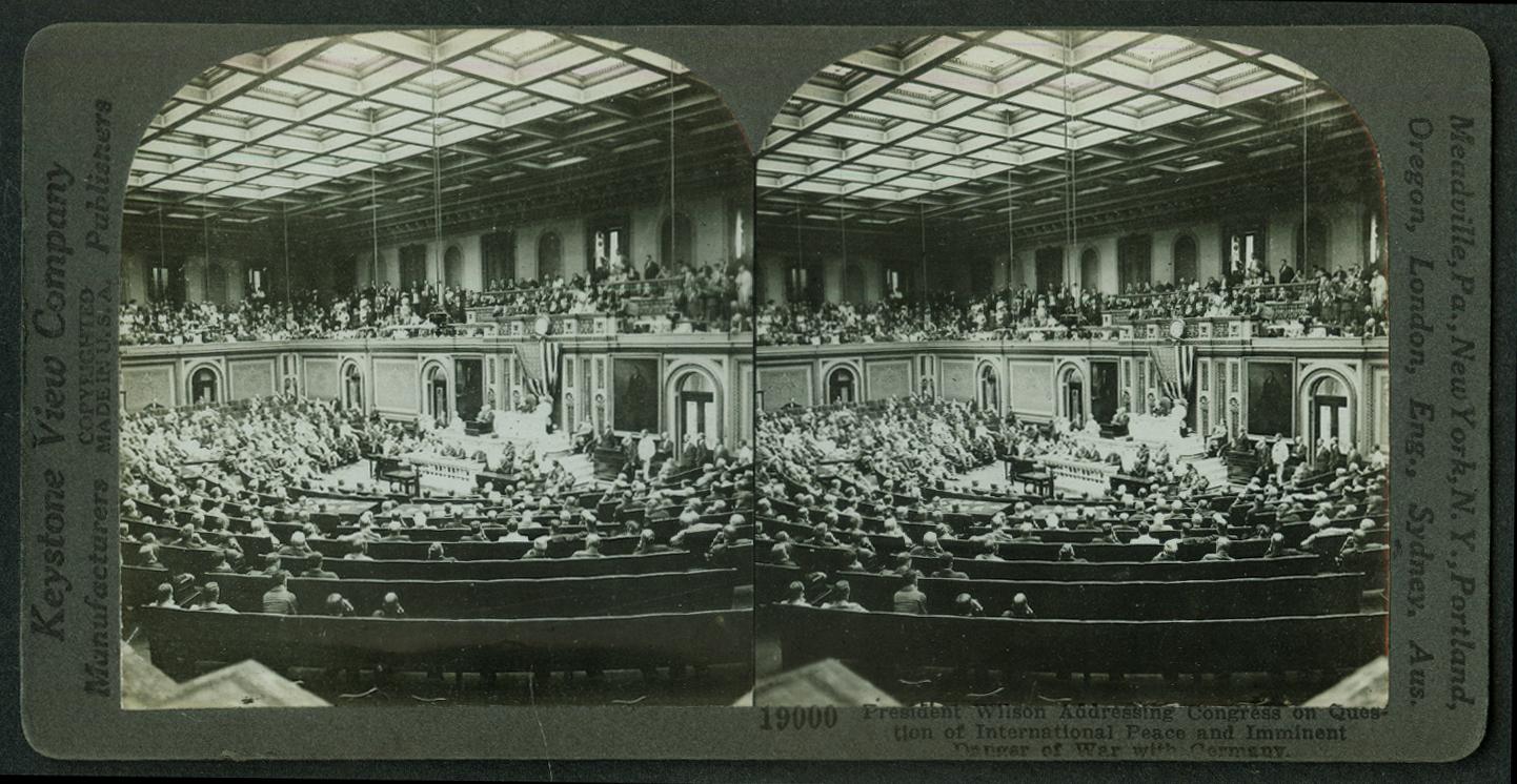 President Wilson speaks to Congress before World War I stereoview 1917