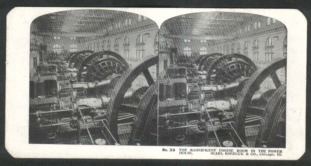Sears Roebuck stereoview #39 Engine Room in Power House Chicago IL 1900 +/-