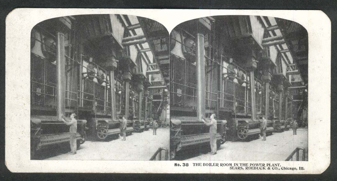 Sears Roebuck stereoview #38 Power Plant Boiler Room Chicago IL 1900 +/-