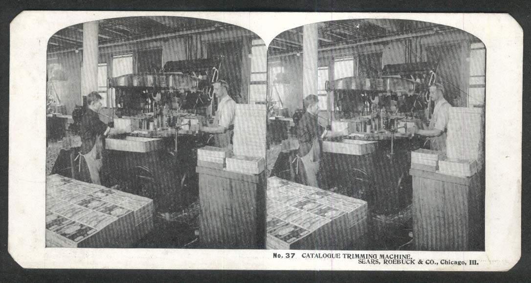 Sears Roebuck stereoview #37 Catalogue Trimming Machine Chicago IL 1900 +/-