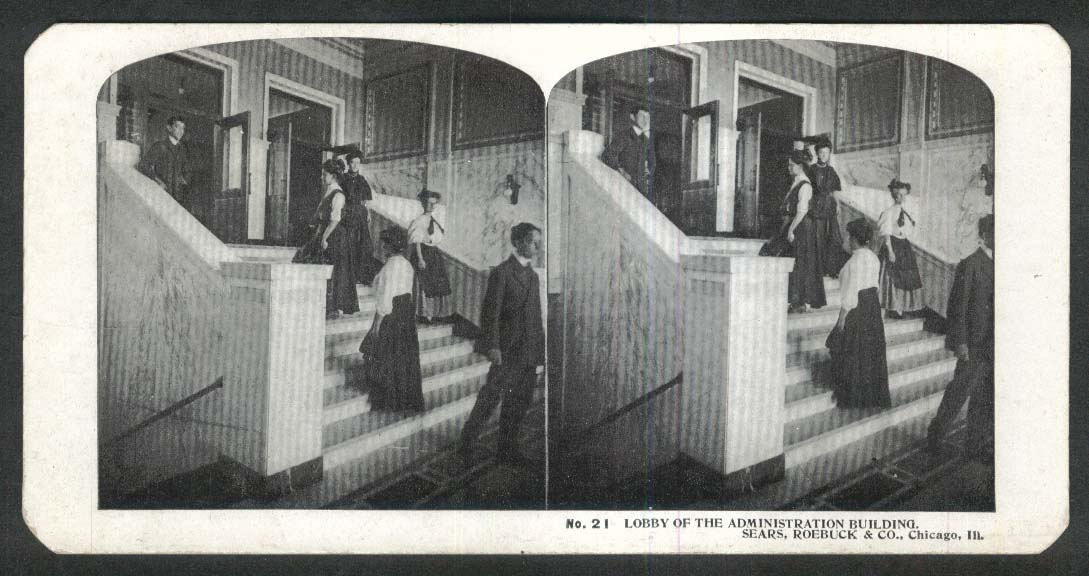 Sears Roebuck stereoview #21 Administration Building Lobby Chicago IL 1900 +/-
