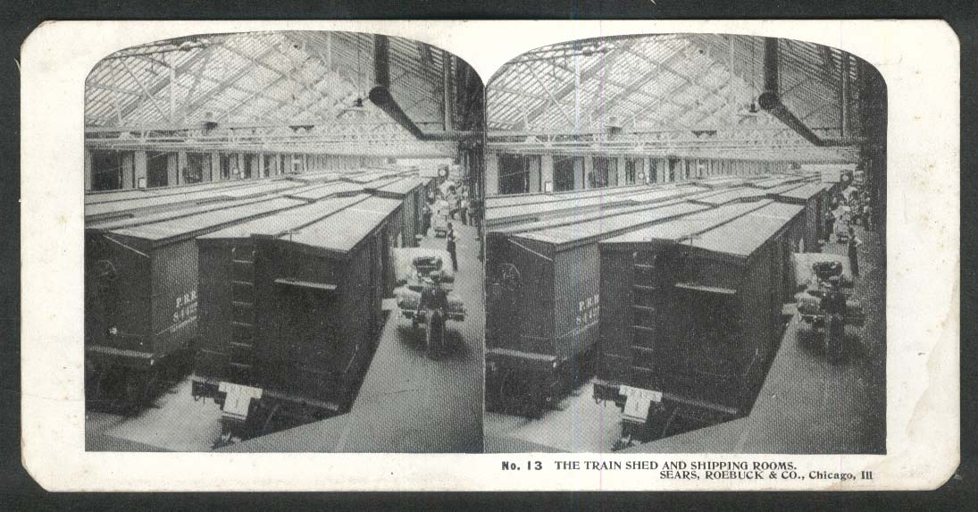 Sears Roebuck stereoview #13 Train Shed & Shipping Rooms Chicago IL 1900 +/-