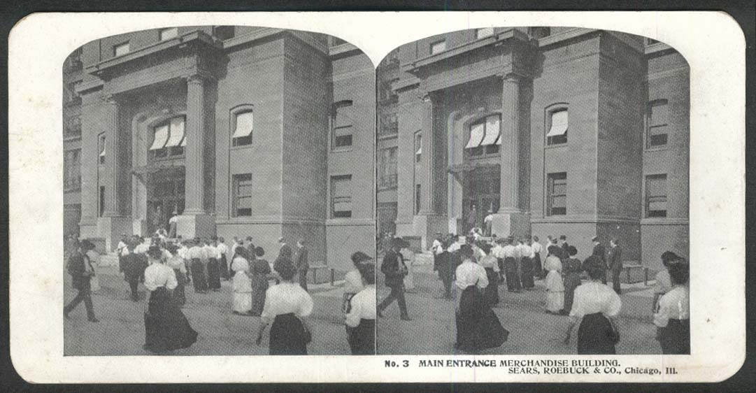 Sears Roebuck stereoview #3 Entrance to Merchandise Building Chicago IL 1900 +/-