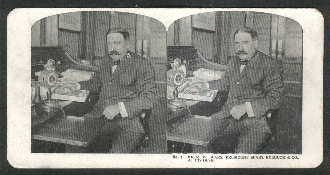 R W Sears President Sears Roebuck & Co at his desk stereoview 1900 +/-