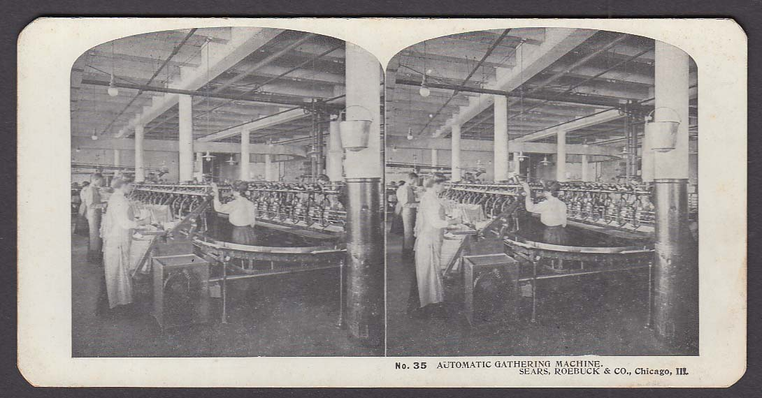 Sears Roebuck stereoview #35 Automatic Gathering Machine Chicago IL 1900 +/-