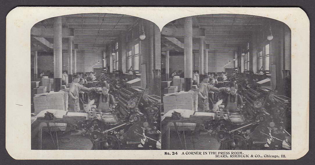 Sears Roebuck stereoview #34 Corner in Press Room Chicago IL 1900 +/-
