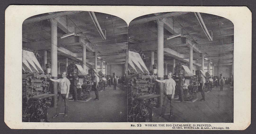 Sears Roebuck stereoview #33 Printing the Big Catalogue Chicago IL 1900 +/-