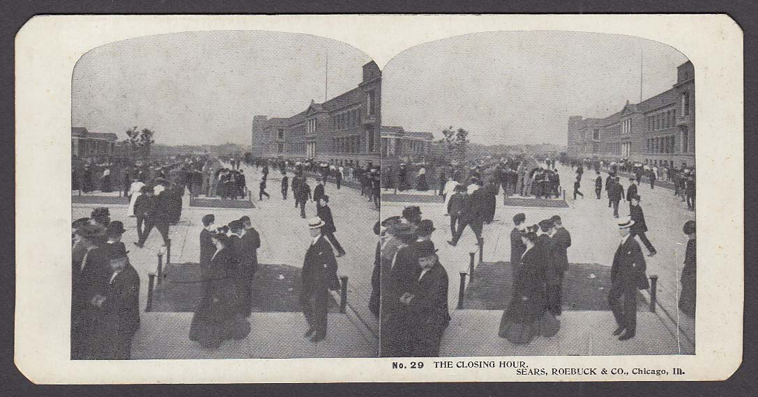 Sears Roebuck stereoview #29 Closing Hour Chicago IL 1900 +/-