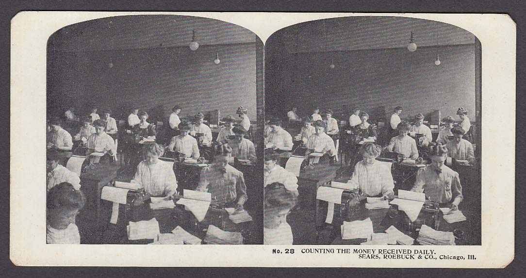 Sears Roebuck stereoview #28 Mounting Money Received Chicago IL 1900 +/-