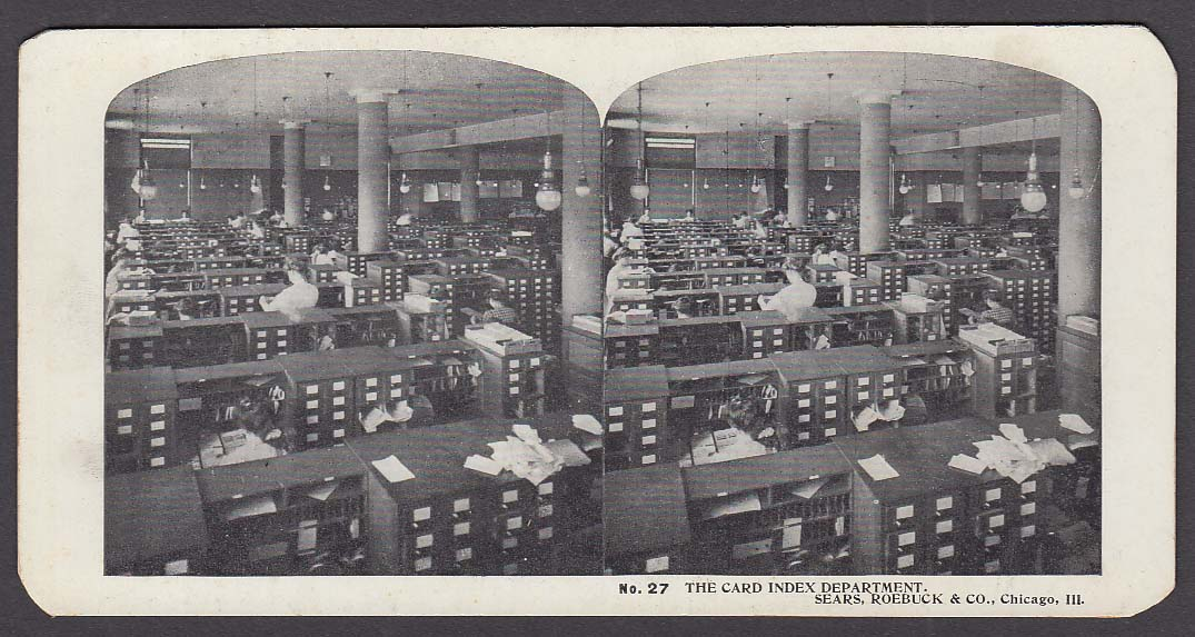 Sears Roebuck stereoview #27 Card Index Department Chicago IL 1900 +/-
