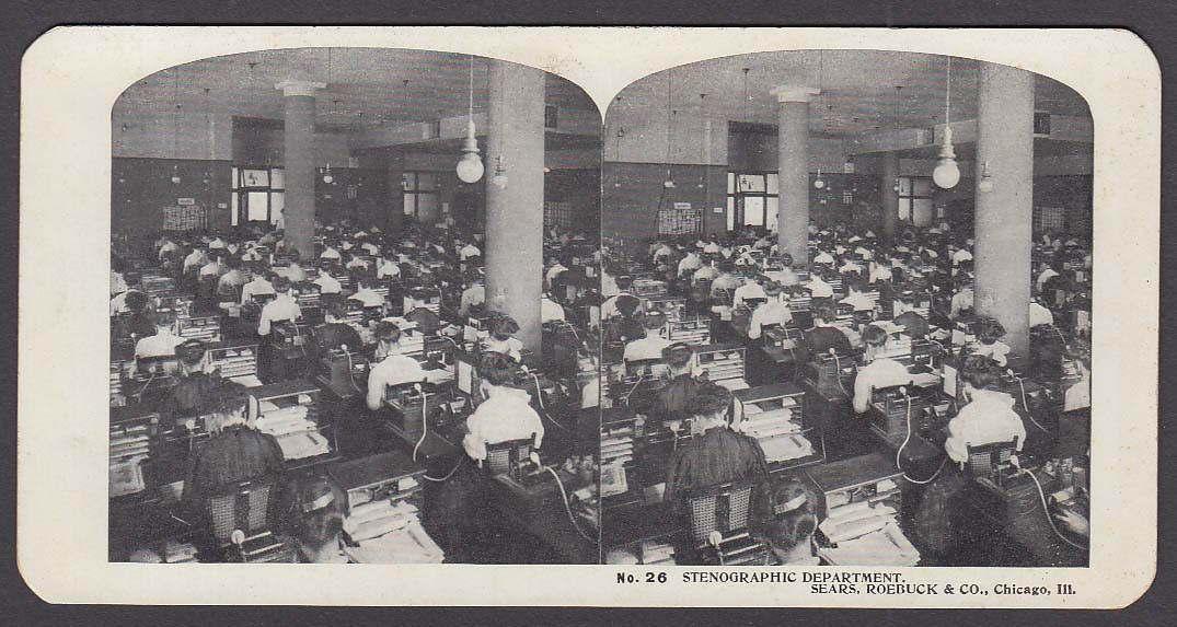 Sears Roebuck stereoview #26 Stenographic Department Chicago IL 1900 +/-