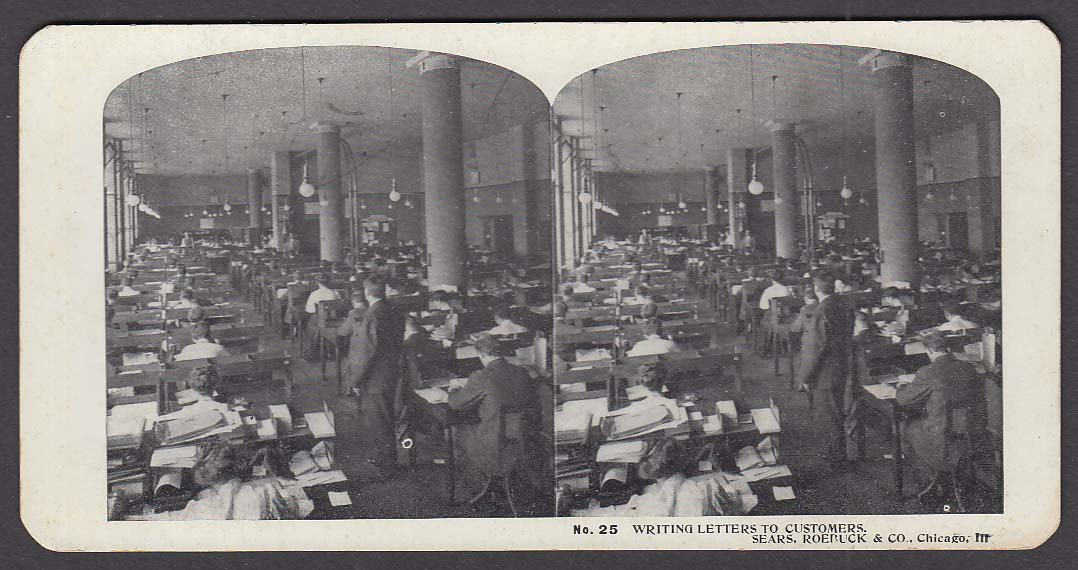 Sears Roebuck stereoview #25 Writing Letters to Customers Chicago IL 1900 +/-