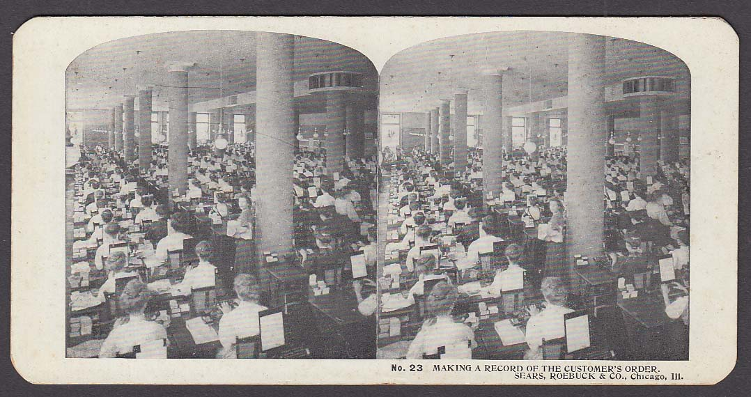 Sears Roebuck stereoview #23 Order Record Room Chicago IL 1900 +/-