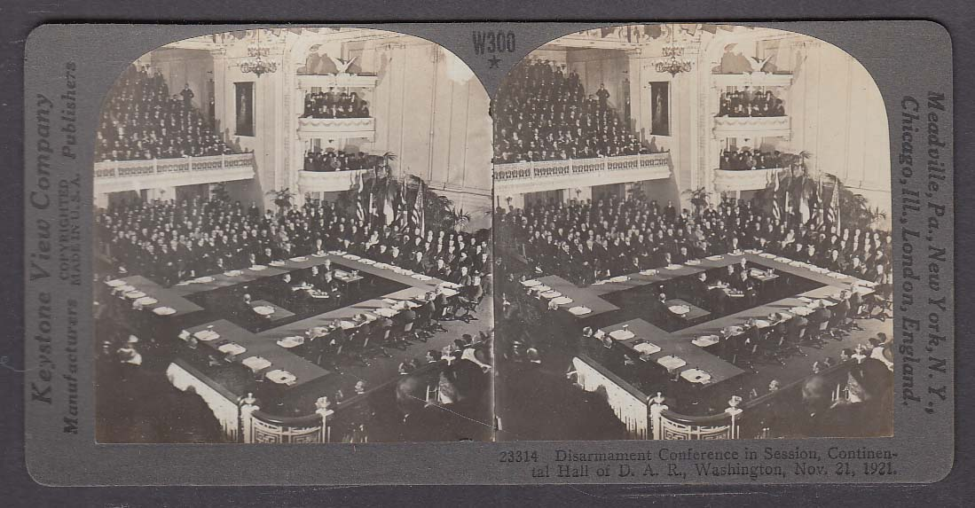 Disarmament Conference Continental Hall of DAR WWI Keystone stereoview 1920s