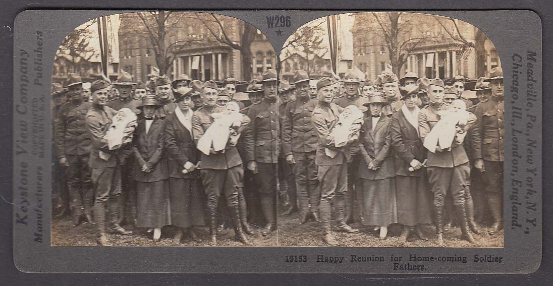 Happy Reunion for Home-coming Soldier Fathers WWI Keystone stereoview 1920s