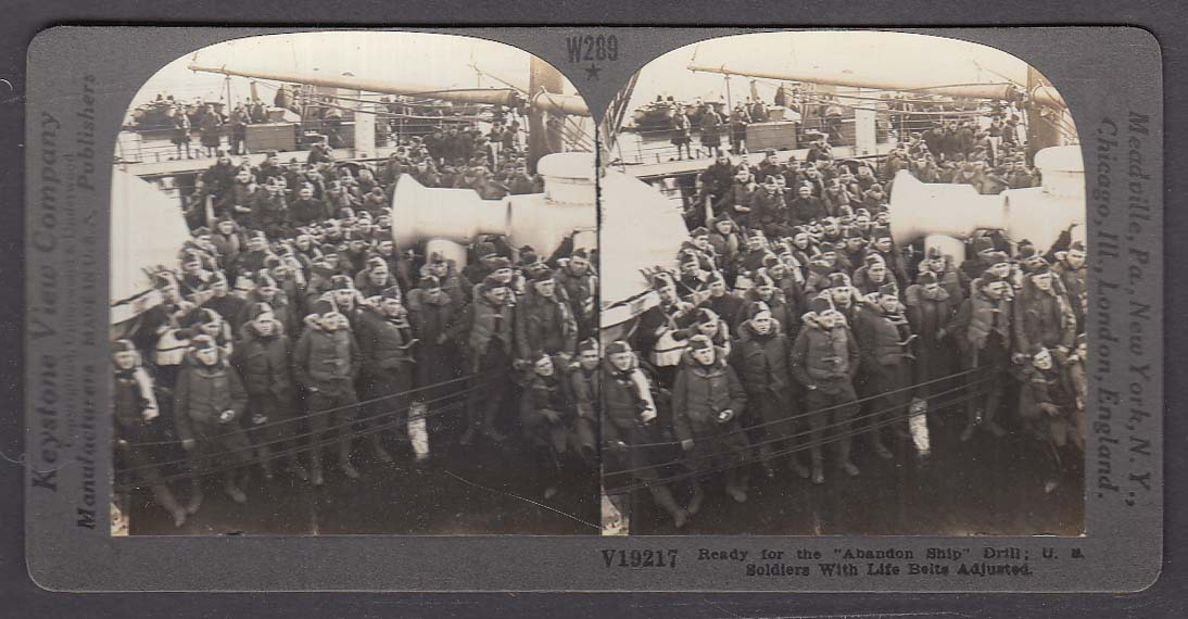 Abandon Ship Drill US Soldiers with Life Belts WWI Keystone stereoview 1920s