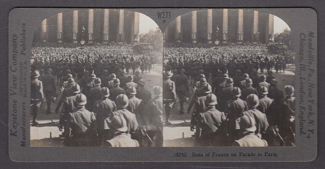 Sons of France on Parade in Paris WWI Keystone stereoview 1920s