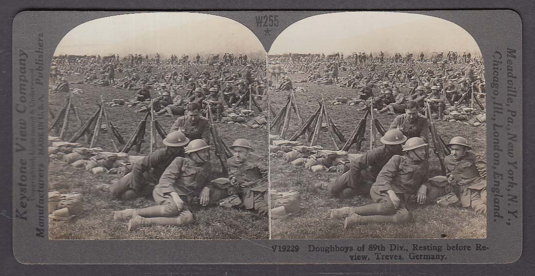 89th Division Doughboys Treves Germany WWI Keystone stereoview 1920s