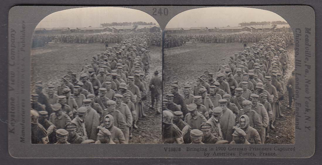German Prisoners Captured by Americans in France WWI Keystone stereoview 1920s