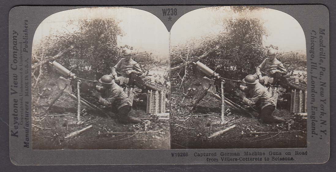 Captured German Machine Guns Villers-Cotterets WWI Keystone stereoview 1920s