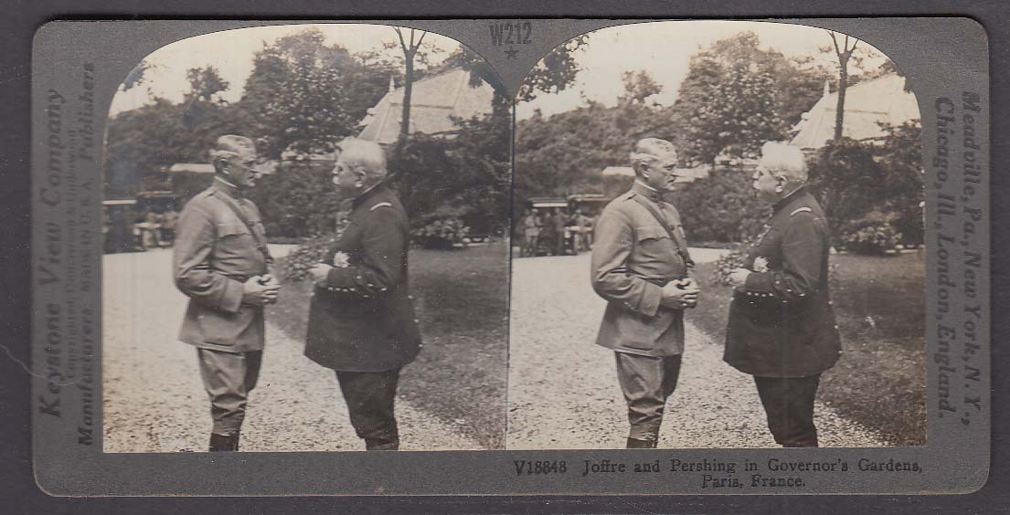 Joffre & Pershing Governor's Gardens Paris France WWI Keystone stereoview 1920s