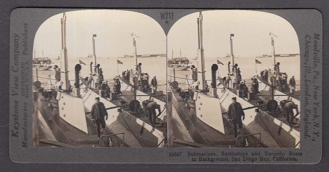 Image for Submarines Battleships Torpedo Boats San Diego Bay WWI Keystone stereoview 1920s