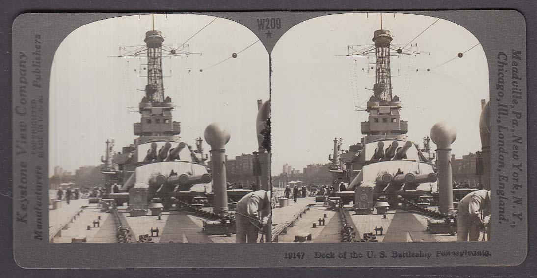 Deck of US Battleship Pennsylvania WWI Keystone stereoview 1920s