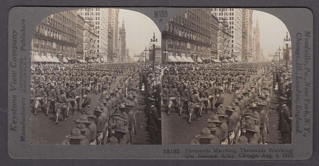 National Army Parade Chicago USA 1917 WWI Keystone stereoview 1920s